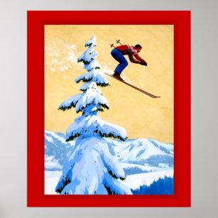 Poster Affiche vintage de sports d'hiver
