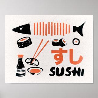 Poster Affiche vintage de sushi