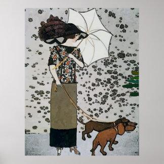 Poster Affiche vintage de teckel