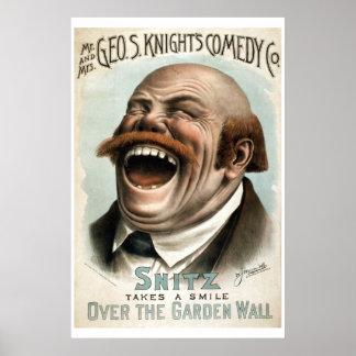 Affiche vintage de théâtre de la comédie Co du bla