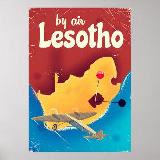 Poster Affiche vintage de vol de voyage du Lesotho