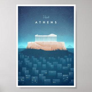 Poster Affiche vintage de voyage d'Athènes