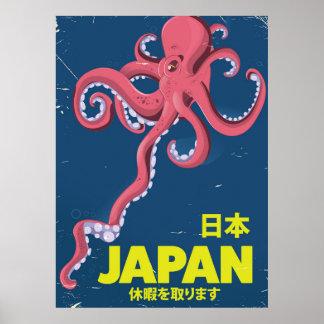 Poster affiche vintage de voyage de calmar du Japon de 日本