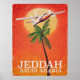Poster Affiche vintage de voyage de carte de Jeddah