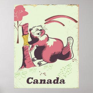 Poster Affiche vintage de voyage de castor du Canada
