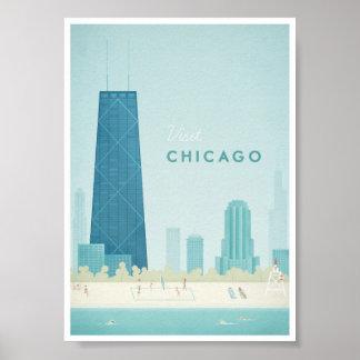 Poster Affiche vintage de voyage de Chicago