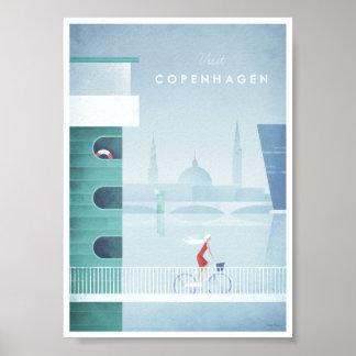 Poster Affiche vintage de voyage de Copenhague