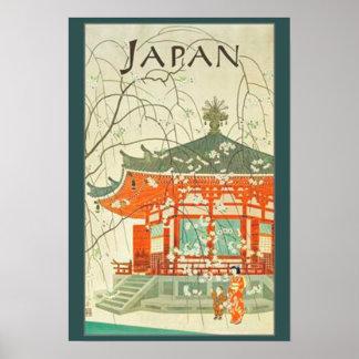 Poster Affiche vintage de voyage de Japonais