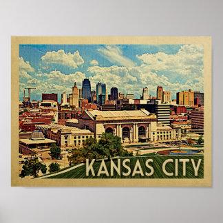 Poster Affiche vintage de voyage de Kansas City