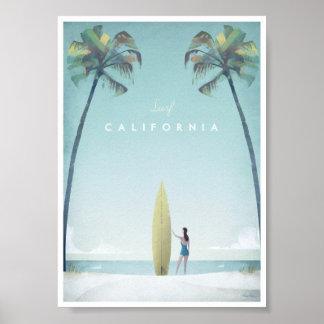 Poster Affiche vintage de voyage de la Californie