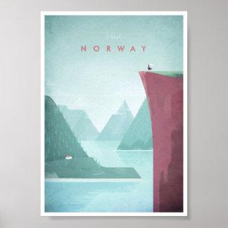 Poster Affiche vintage de voyage de la Norvège