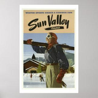 Poster Affiche vintage de voyage de l'Idaho de vallée de