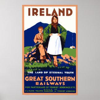 Poster Affiche vintage de voyage de l'Irlande