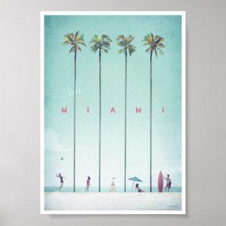 Poster Affiche vintage de voyage de Miami