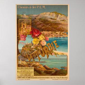Poster Affiche vintage de voyage de Monte Carlo de sur de