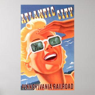 Poster Affiche vintage de voyage de New Jersey d'Atlantic