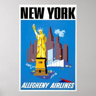 Poster Affiche vintage de voyage de New York