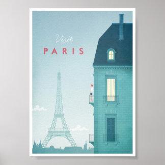 Poster Affiche vintage de voyage de Paris
