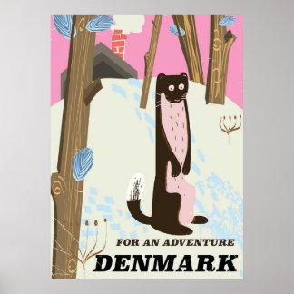 Poster Affiche vintage de voyage de paysage de bande