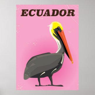 Poster Affiche vintage de voyage de pélican de l'Equateur