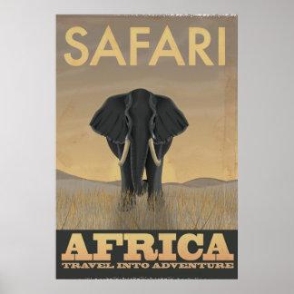 Poster Affiche vintage de voyage de safari de l'Afrique