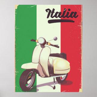 Poster Affiche vintage de voyage de scooter de l'Italie