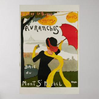 Poster Affiche vintage de voyage de St Michel d'Avranches