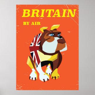 Poster Affiche vintage de voyage de style de bouledogue