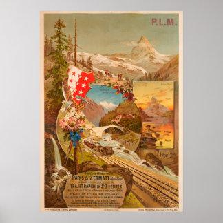 Poster Affiche vintage de voyage de Zermatt