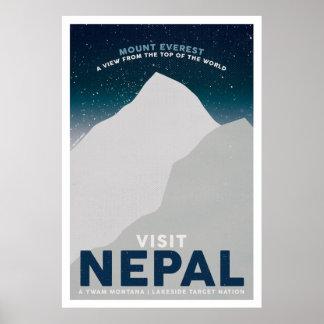 Poster Affiche vintage de voyage du Népal le mont Everest