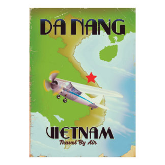 Poster Affiche vintage de voyage du Vietnam de Da Nang