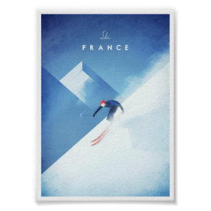 Poster Affiche vintage de voyage et de ski en France