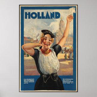 Poster Affiche vintage de voyage pour la Hollande