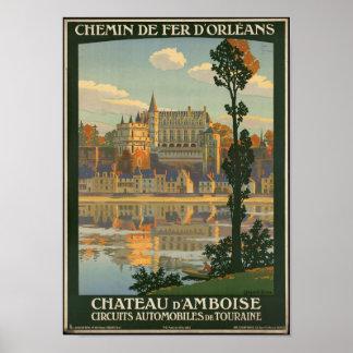 Poster Affiche vintage de voyage pour le d'Amboise de