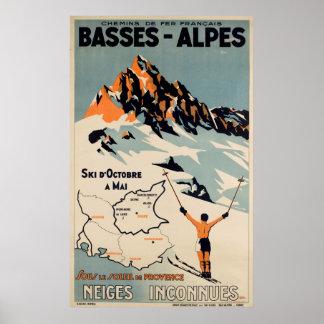 Poster Affiche vintage française de voyage de ski d'Alpes