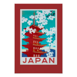 Poster Affiche vintage Japon de voyage