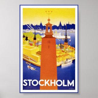Poster Affiche vintage suédoise de voyage de Stockholm