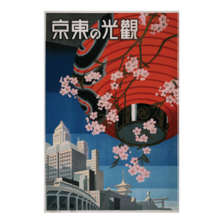 Poster Affiche vintage Tokyo Japon de voyage