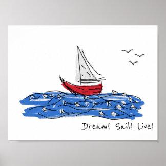 Poster Affiche vivante de croquis de mouettes de bateau
