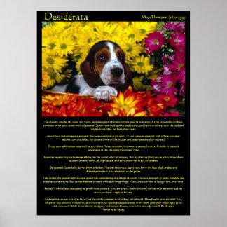 Poster Affiches de beagle de fleur de desiderata