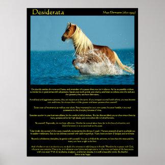Poster Affiches de cheval de l'eau de desiderata