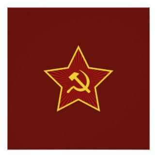 Poster Affiches rouges de marteau et de faucille d'étoile