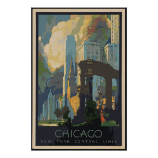Poster Affiches vintages 24x36 de voyage de Chicago