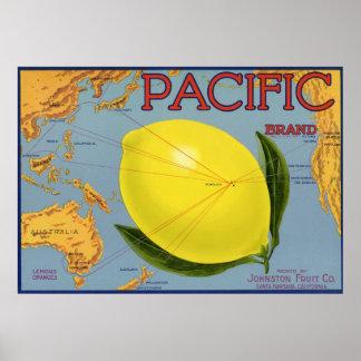 Poster Agrume Pacifique de citron de fruit de caisse