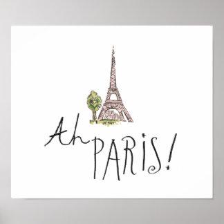 Poster Ah Paris ! Citation   avec la tour d'Effiel