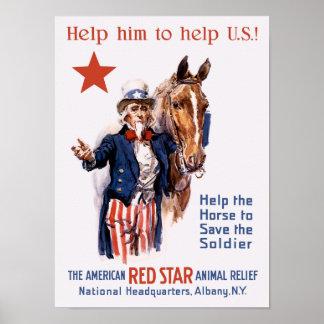 Poster Aidez le cheval à sauver le soldat -- WWI