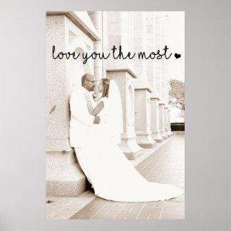 Poster aimez-vous plus avec moderne simple de coeur