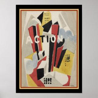 "Poster Albert Gleizes, la ""action"" 1920 impriment 12x16"