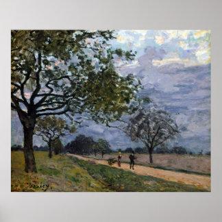 Poster Alfred Sisley la route de Versailles à Louvecie