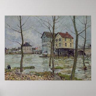 Poster Alfred Sisley   les moulins au Moret-sur-Loing